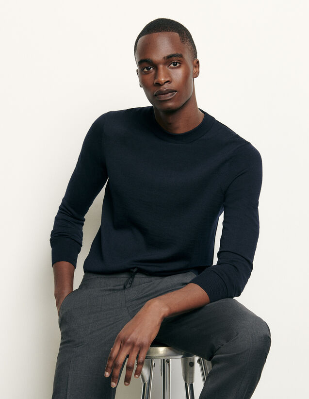 Pullover in maglia sottile in lana : Maglioni & Cardigan colore Blu Marino
