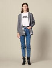 Cardigan-cappotto con fodera stampata : Maglieria & Cardigan colore Grigio