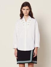 Camicia Scollata Decorata Con Occhielli : Top & Camicie colore Bianco