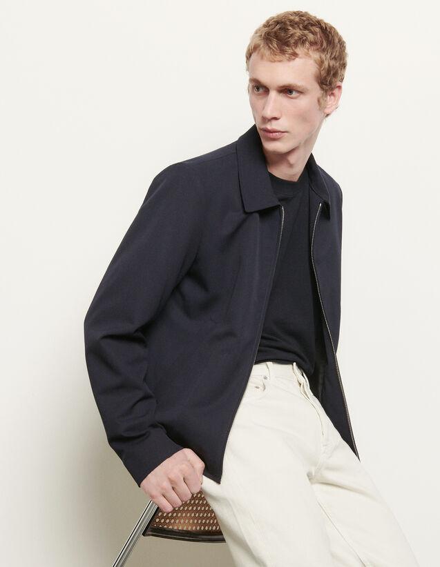 Blouson en laine à col chemise : HCollection Ete couleur Marine