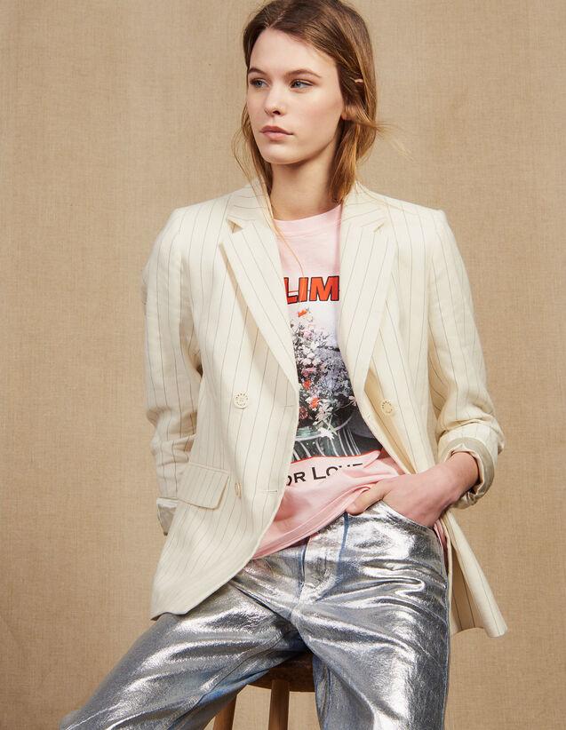 Veste De Tailleur À Fines Rayures : null couleur blanc