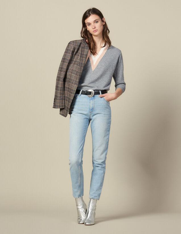 Jeans a vita alta effetto délavé : FBlackFriday-FR-FSelection-30 colore Blue Vintage - Denim