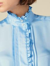 Camicia In Seta Bordata Di Volant : Top & Camicie colore Ciel