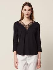 T-Shirt Con Scollo In Pizzo : null colore Nero