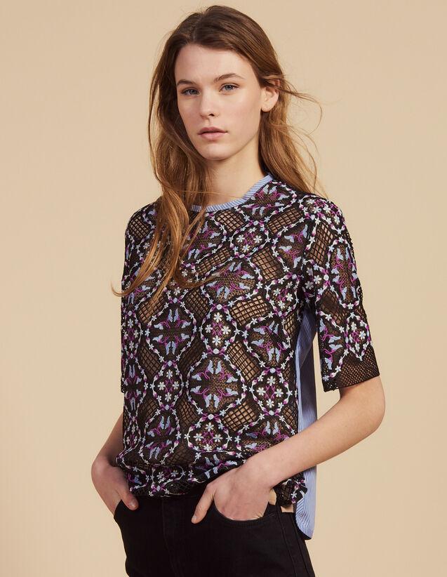 Top In Guipure Floreale Bimateriale : Camicia stampata colore Nero