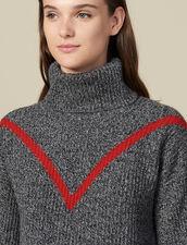 Pullover A Collo Alto In Maglia Chiné : Maglieria & Cardigan colore Grigio
