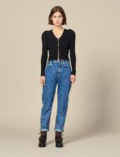 Cardigan corto con perle : Maglieria & Cardigan colore Nero