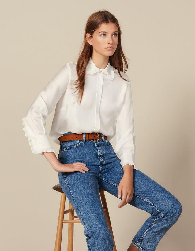 Chemise en soie avec col bordé de plissé : Tops & Chemises couleur Ecru