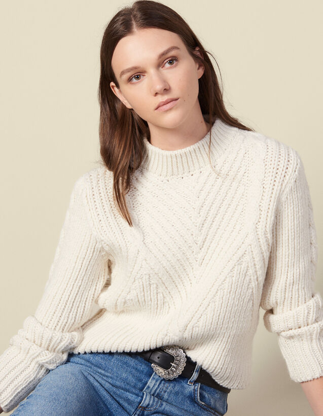 Pullover in lana a maglia grossa : Maglieria & Cardigan colore Ecru