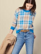 Pullover peloso in jacquard a quadri : Maglieria & Cardigan colore Ciel