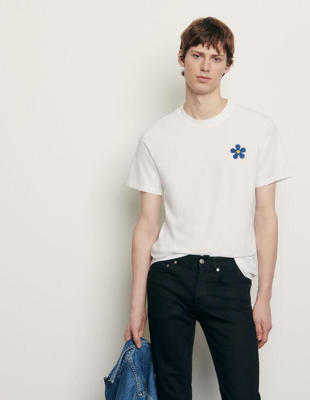 T-shirt in cotone con ricamo applicato : Nuova Collezione Estiva colore Nero