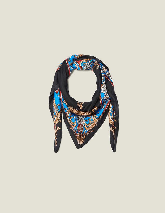 Foulard In Seta Con Stampa Barocca : Sciarpe colore Nero