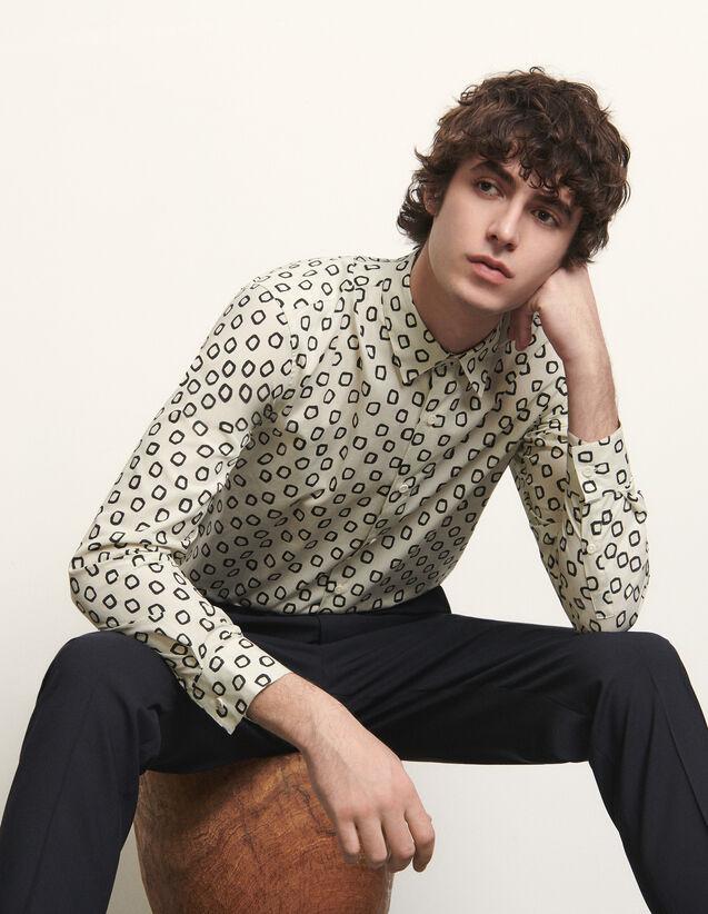 Camicia in cotone stampato : Camicie colore Nero