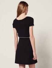 Jupe En Maille Ornée De Boutons Bijoux : null couleur Noir