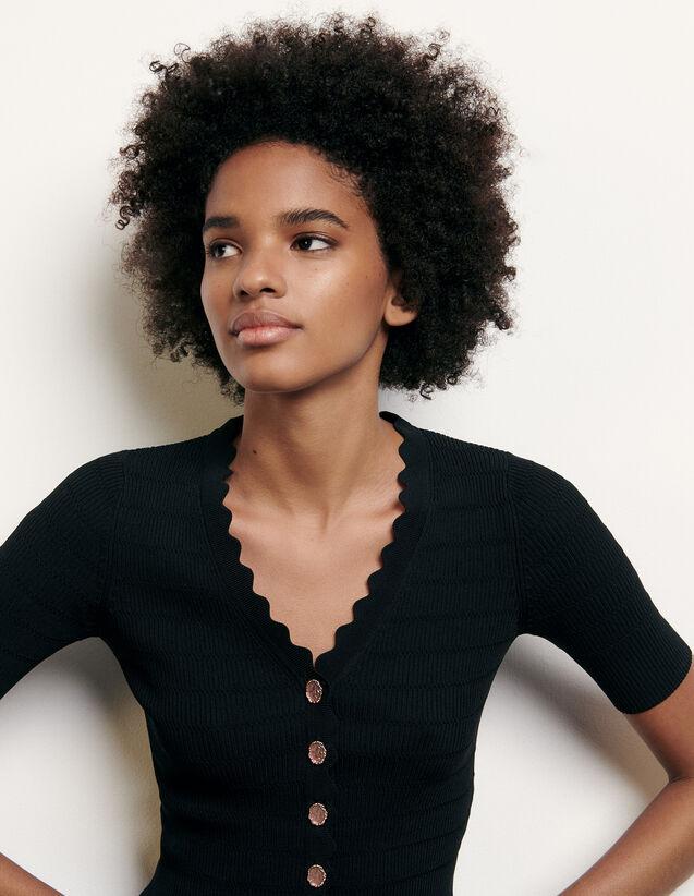 Pullover in maglia con bottoni fantasia : Maglieria & Cardigan colore Nero