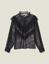 Top in pizzo con volant : Top & Camicie colore Nero
