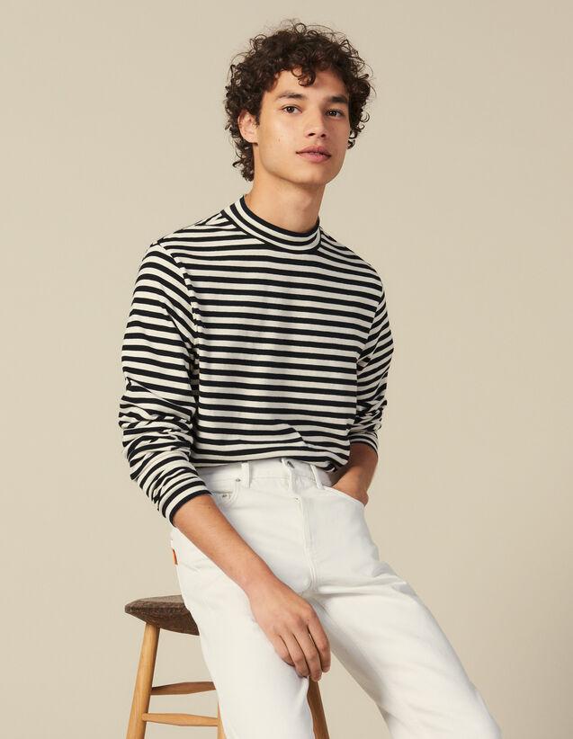 T Shirt A Righe Con Collo A Lupetto : Maglioni & Cardigan colore Nero/Ecru