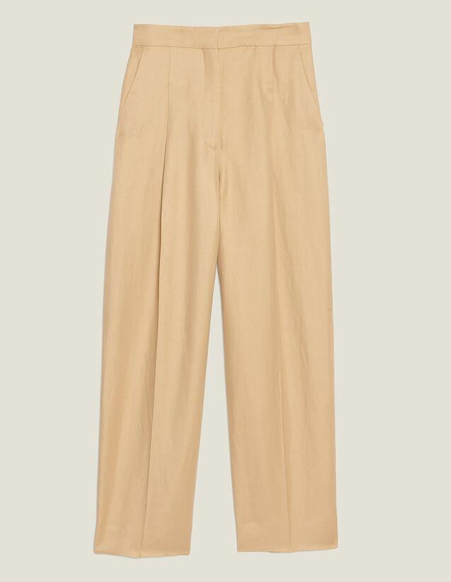 Pantaloni Larghi Con Pince : Pantaloni colore Beige