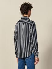 Camicia Fluida A Righe : Collezione Inverno colore Blu Marino