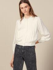 Blusa a pieghe piatte : LastChance-ES-F40 colore Ecru