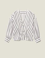 Camicia Sciancrata In Popeline A Righe : LastChance-ES-F50 colore Bianco
