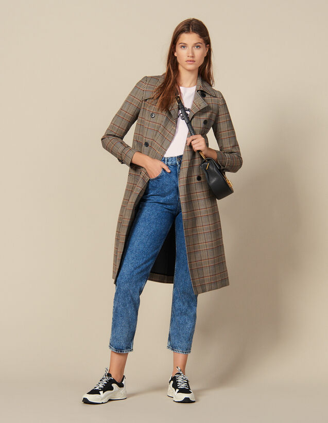 Trench-Coat À Carreaux : Manteaux couleur Multicolore