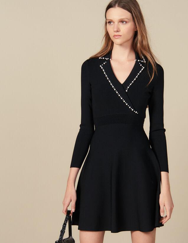 Robe Courte En Maille Avec Col Tailleur : Robes couleur Noir