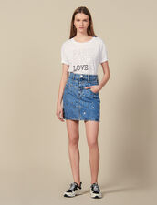 Gonna Corta In Jeans Con Borchie : Gonne & Short colore Blue jeans