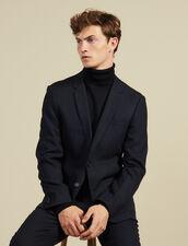 Giacca da completo in lana slim fit : Abiti & Smoking colore Blu Marino