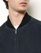 Giubbotto con zip in pelle scamosciata : Giubbotti & Giacche colore Nero
