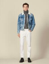 Giacca jeans, interno in finto montone : Giubbotti & Giacche colore Blue Vintage - Denim