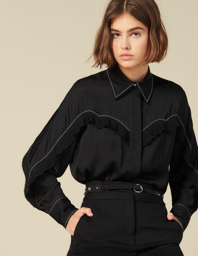 Camicia Con Inserti Western : Top & Camicie colore Nero