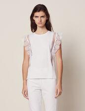 T-Shirt Con Decorazioni In Pizzo : null colore Bianco