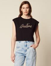 T-Shirt Corta Con Scritta A Perle : null colore Nero