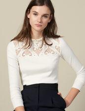T-Shirt In Popeline Con Inserto : Magliette colore Ecru