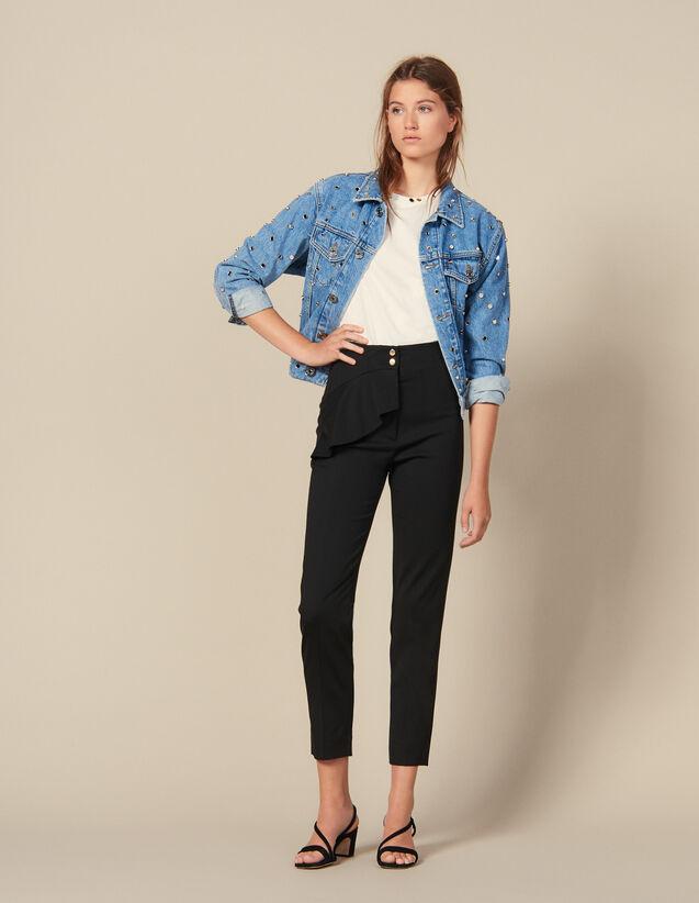 Pantaloni Affusolati A Baschina : Pantaloni colore Nero
