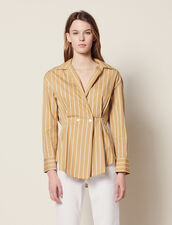 Chemise Rayée Manches Longues : null couleur Beige