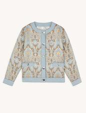 Giacca in broccato e inserti in jeans : Giacche & Giubbotti colore Or / Bleu