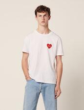 T-Shirt In Cotone Con Cuore Floccato : Toute la Sélection colore Bianco
