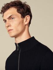 Cardigan in lana con zip : SOLDES-UK-HSelection-PAP colore Nero