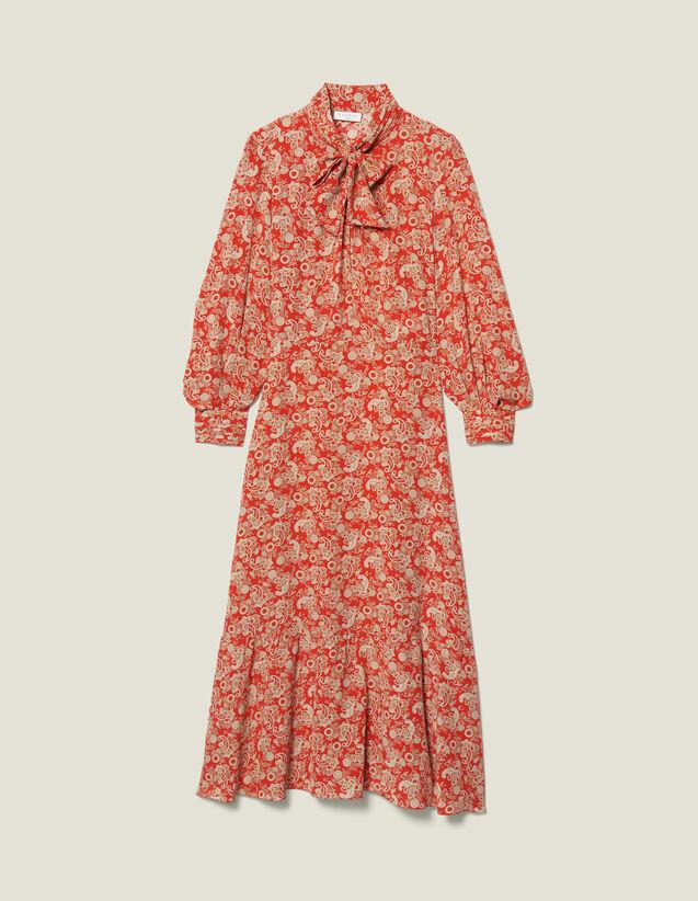 Abito lungo in seta stampata : FBlackFriday-FR-FSelection-Robes colore Rosso