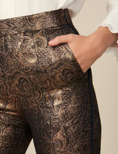 Pantaloni Tailleur Svasati In Broccato : FBlackFriday-FR-FSelection-Pantalons&Jeans colore Oro