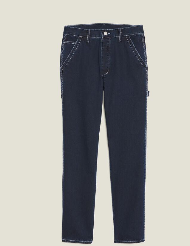 Pantaloni In Denim Con Impunture : Collezione Estiva colore Blue Night - Denim