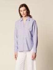 Camicia In Cotone Con Gioco Di Righe : Camicia stampata colore Blu