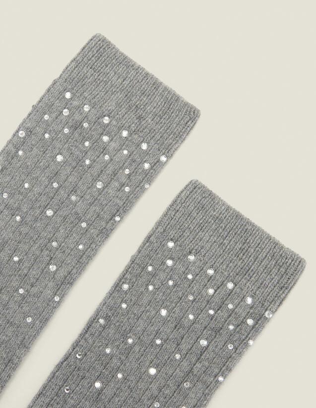 Calzini ornati di strass : Calze colore Grigio Scuro