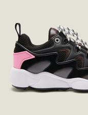 Sneaker in mix di materiali : Scarpe colore Nero