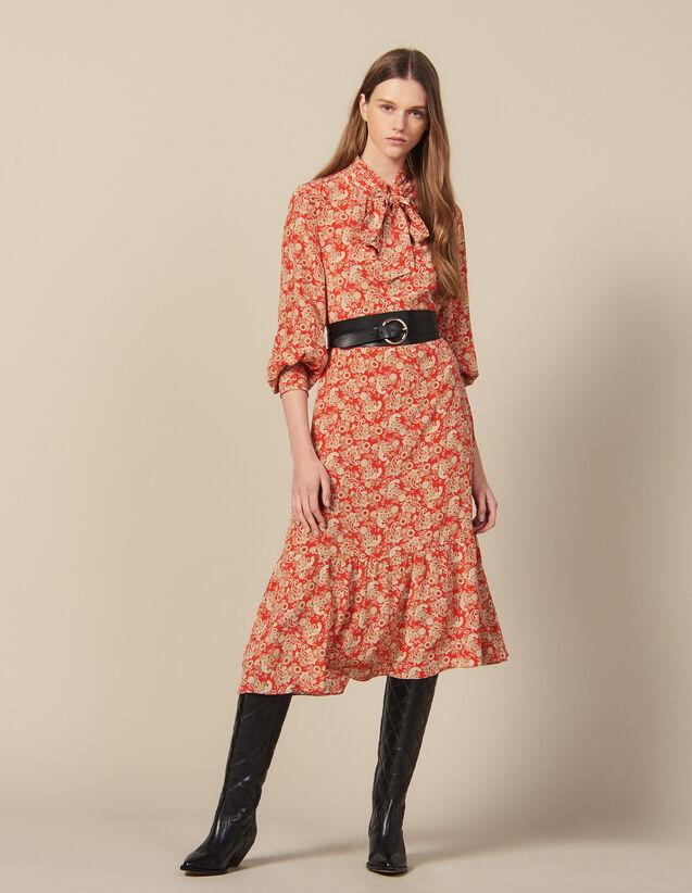 Robe longue imprimée en soie : FBlackFriday-FR-FSelection-Robes couleur Rouge