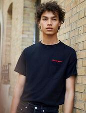 T-Shirt Con Scritta In Cotone : Collezione Inverno colore Blu Marino