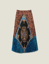 Gonna lunga plissettata e stampata : Gonne & Short colore Multicolore