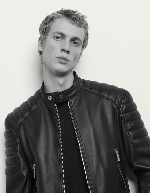 Blouson en cuir finitions matelassées : Blousons & Vestes couleur Noir